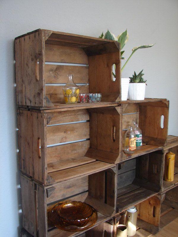 Vintage wooden apple crates storage british shelves for Antique apple crates