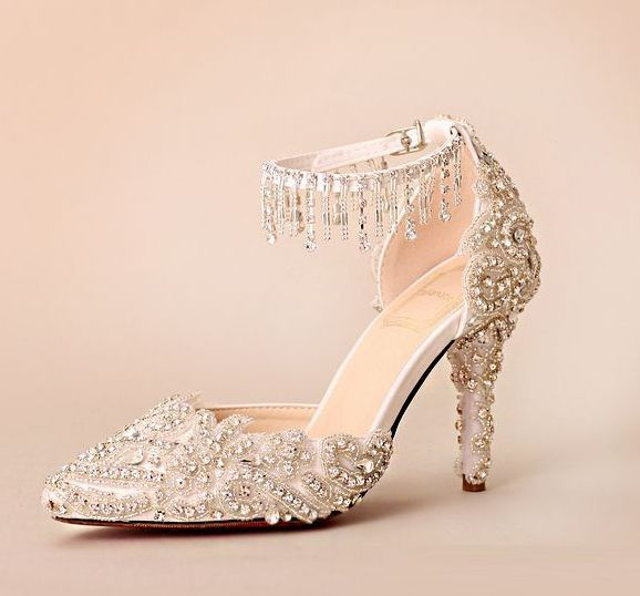 138.60$  Watch here - http://alia2k.worldwells.pw/go.php?t=32778308387 - 7cm thin heeled luxury silver pumps shoes for woman crystal rhinestones hand made female ladies girl party pumps shoes TG819 138.60$