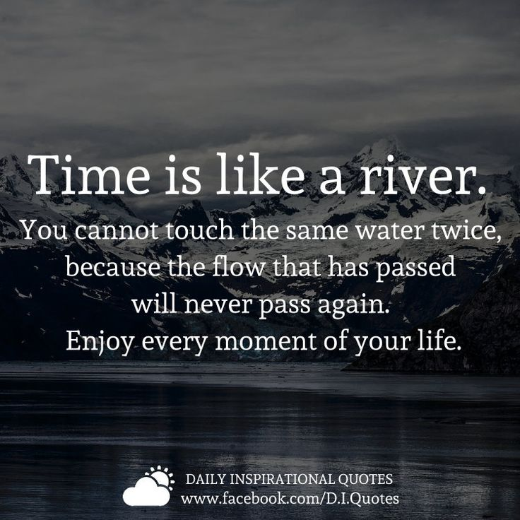 Time is like a river. You cannot touch tne same water twice, because the flow that has passed will never pass again. Enjoy every moment of your life.