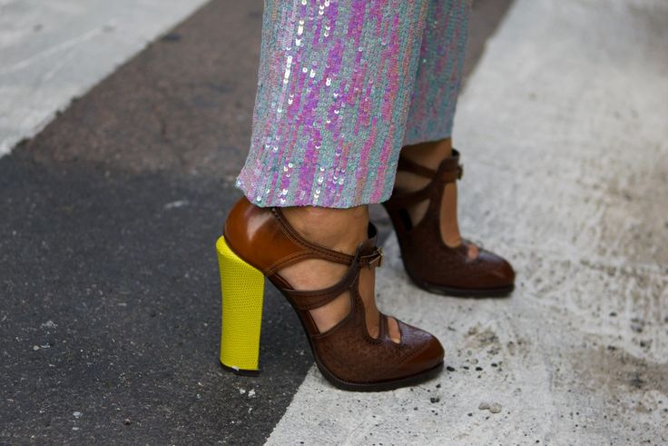fendi neon shoes. im also slightly obsessed with the sequin pants.