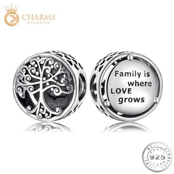 Family Tree Charm Genuine 925 Sterling Silver Fits Pandora Etsy In 2021 Genuine 925 Sterling Silver Love Charms Pandora Bracelet