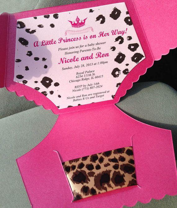 Invitaciones de pañal del bebé ducha Guepardo por PunkyPosh en Etsy