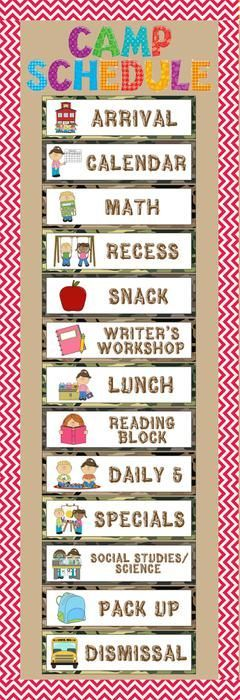 Camping Themed Back To School Schedule Bulletin Board Idea