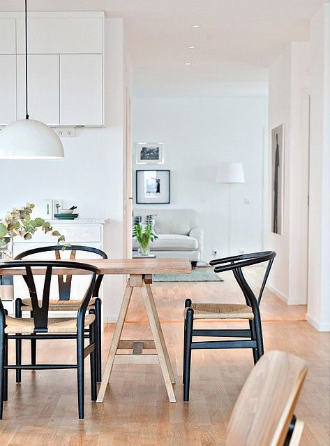 Wishbone chairs trestle table dream home pinterest for Wishbone chair table