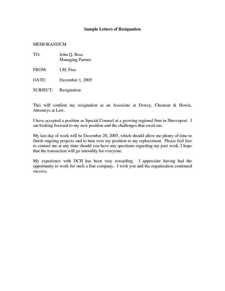 printable sample letter of resignation form - Resignation Format