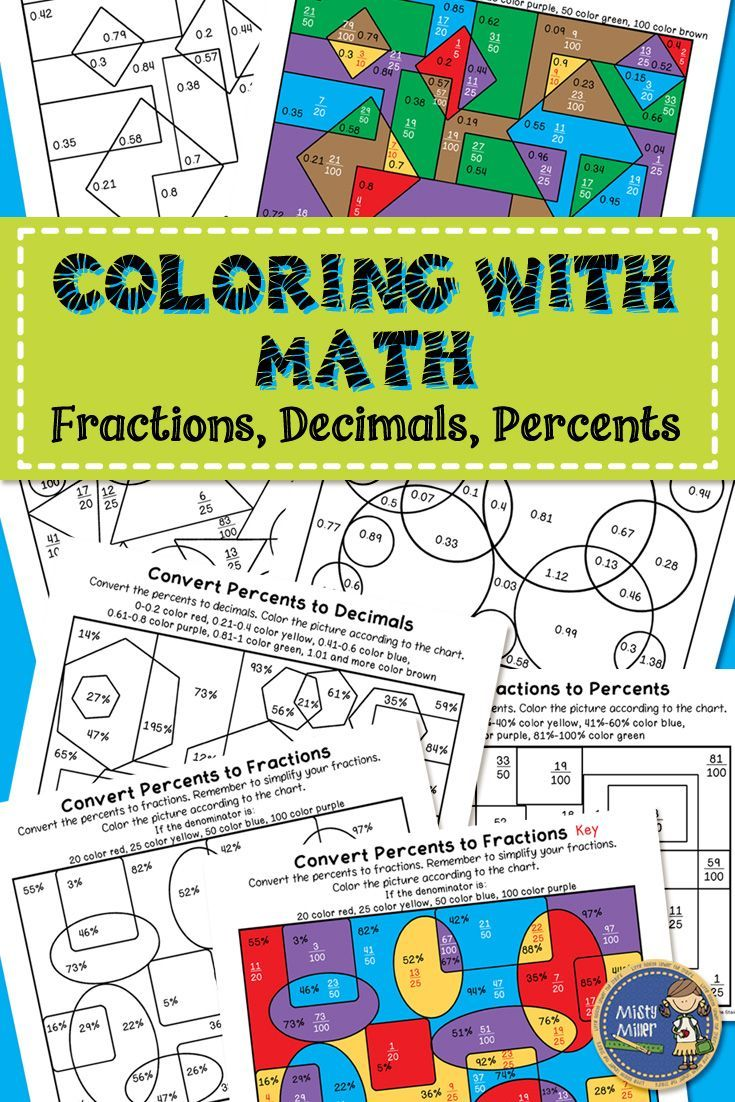 Fractions, Decimals, Percents Color with Math - Students convert the fractions, decimals, and percents and use the code to color the picture. $ gr 5-7