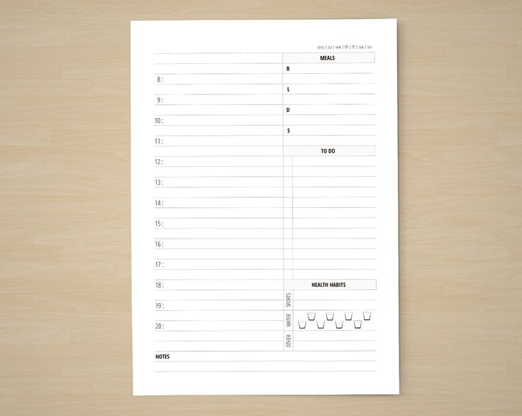 A5 Daily Planner Inserts - Printable Filofax Insert - A5 Undated Daily Plan Template