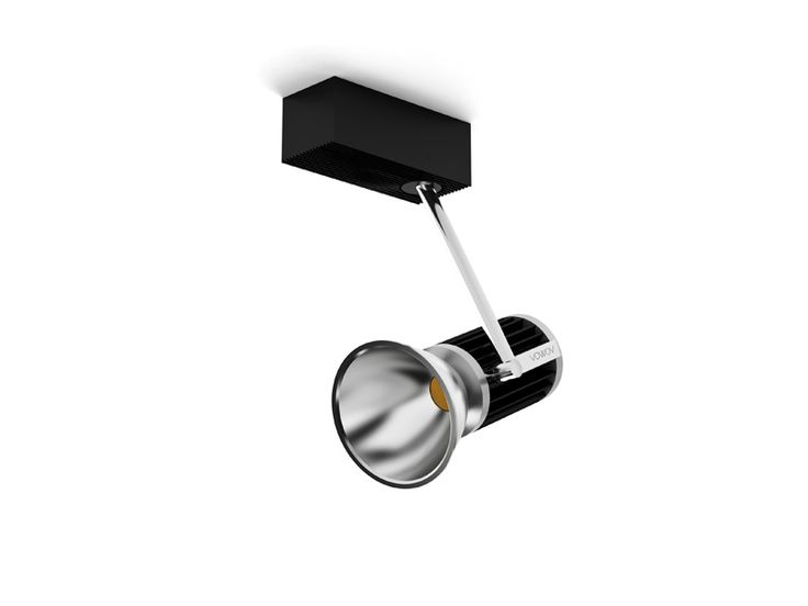 Adjustable indoor lighting fixture IP20. Cast aluminium manufactured, finished with different anodized colors. Adjustable arm with different length and interchangeable reflectors. Integrated driver in the base. It could be installed in surface or recessed.