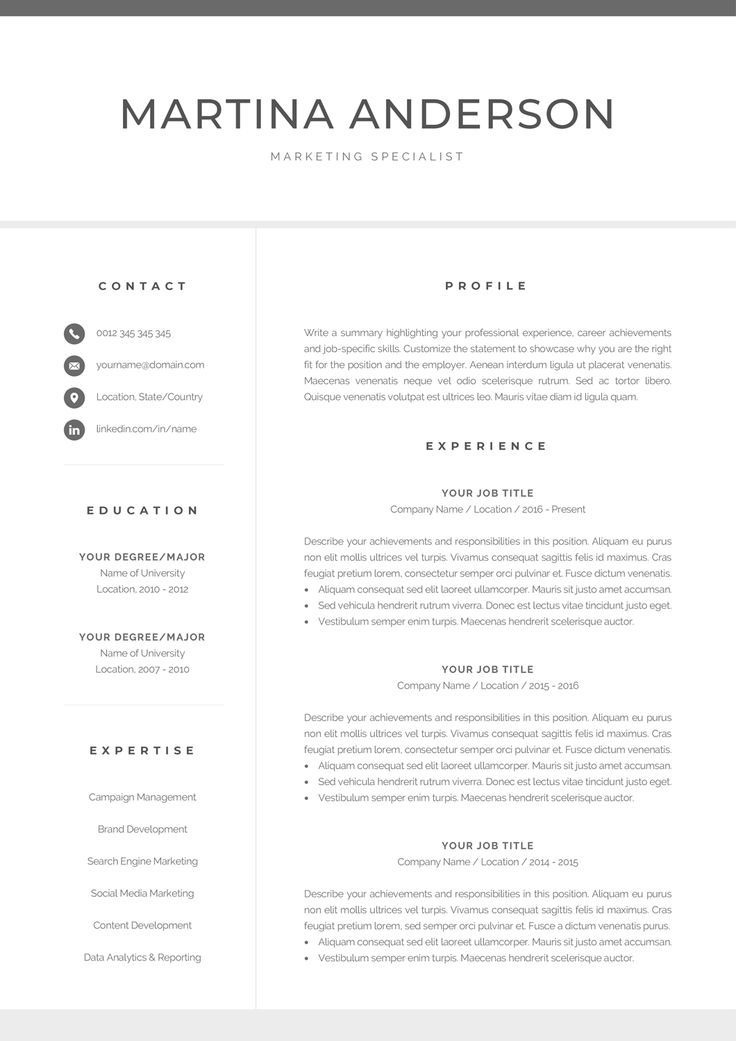 Modern Resume Template Professional CV Template for Word Cover