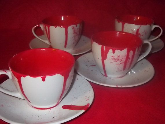 blood cup and saucer   eight piece tea set   by HellBuddies on Etsy, £45.00