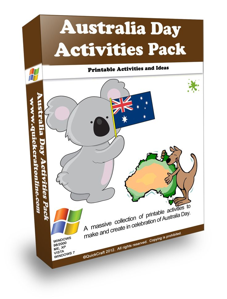 A massive collection of printable activities and ideas about Australia and Australia Day. Activities include Posters, Fact Sheets, Puzzles, Mobiles, Flags, Songs, Recipes, Flash Cards, Games, Writing paper and lots more. A must have innovative pack for Australia Day Activities. http://www.quickcraftonline.com