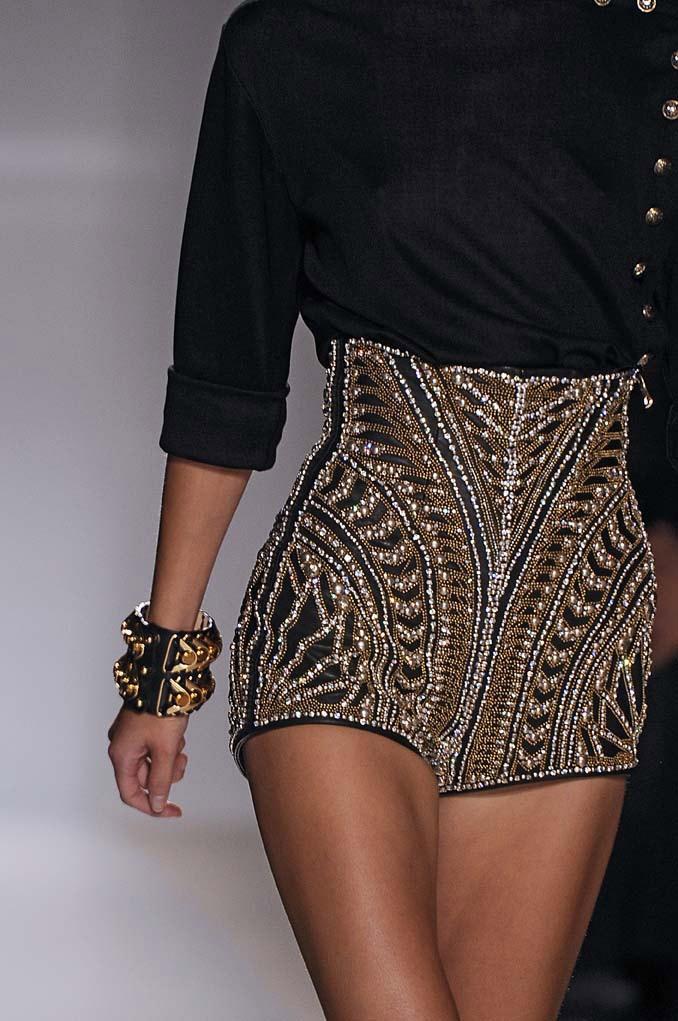 Balmain embellished shorts Black & Gold