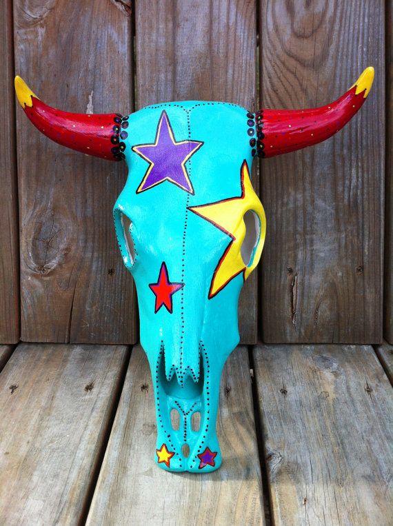 Hand Painted Ceramic Cow Skull. $100.00, via Etsy.