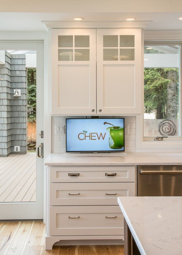 How To Hide Your Tv Kitchen Cabinets Pinterest In And