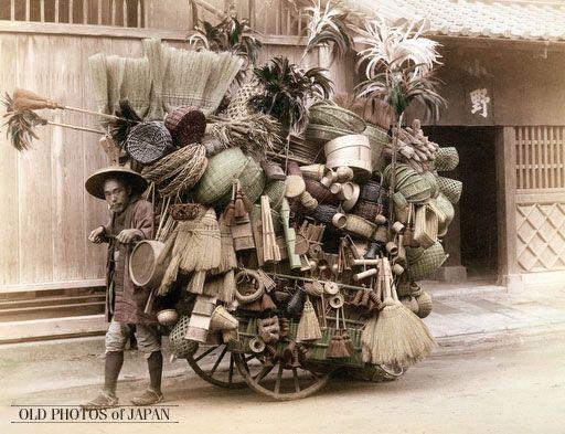 OLD PHOTOS OF JAPAN:Basket and Broom Peddler 1890
