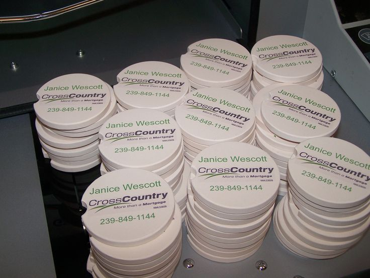 Absorbent car coasters, make great trade show giveaways for realtors and mortgage brokers
