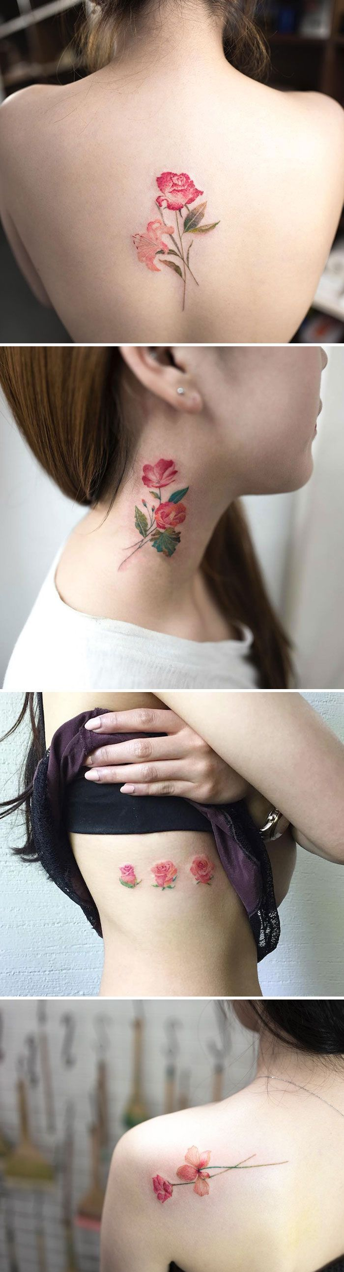 "Hongdam, South Korea [   ""Such pretty tattoos - Hongdam, South Korea"",   ""Spring is upon us, and summer isn& far behind it, meaning floral printed everything is officially necessary, and that includes tattoos as well."",   ""Floral tattoos designed are popular around the globe. Here is a collection of beautiful floral tattoos that will make you want to get inked."",   ""tattoo An artist who immortalizes the delicate beauty of flowers."",   ""A rose for each one of my sisters and best friends""…"