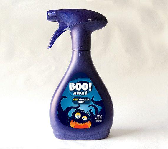 ¡A Boo! Contra monstruo IMPRIMIBLE de aerosol 500mL botella de ETIQUETA para la botella de refresco desinfla camas