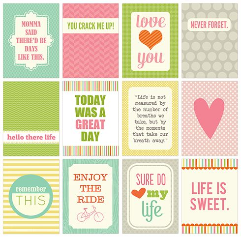 Project Life (or good for SMASH book) printable cards - these are super cute but are NOT freebies, you have to purchase them