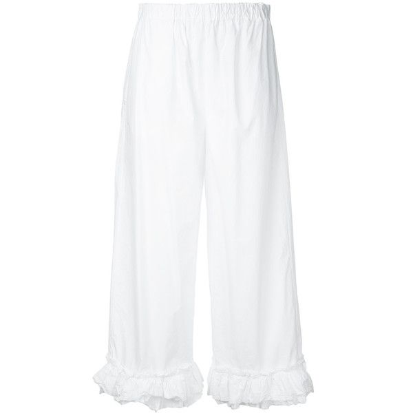 Erika Cavallini ruffled detail cropped trousers ($285) ❤ liked on Polyvore featuring pants, capris, white, cropped pants, frilly pants, white frilly pants, white cropped trousers and ruffle pants