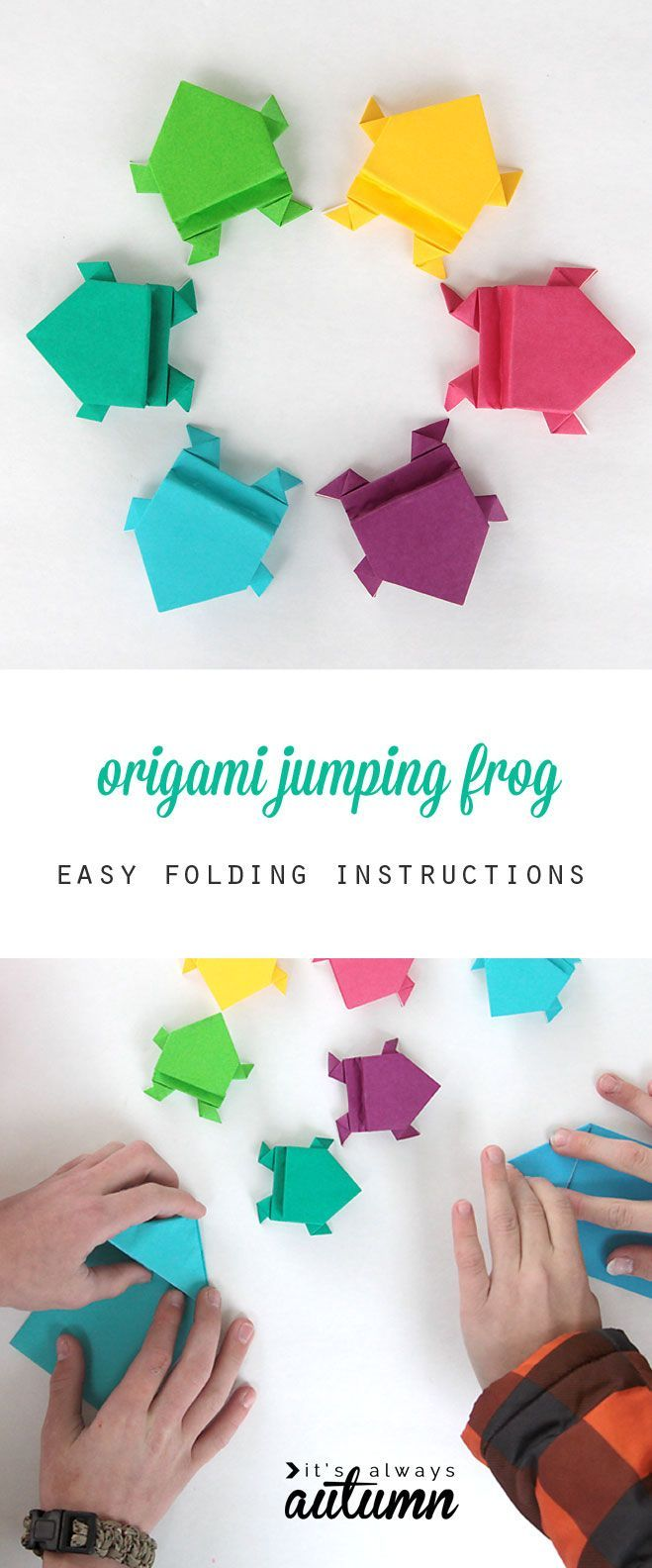 nice photo instructions show how to fold an origami jumping frog. looks easy enough for kids! great summer activity.