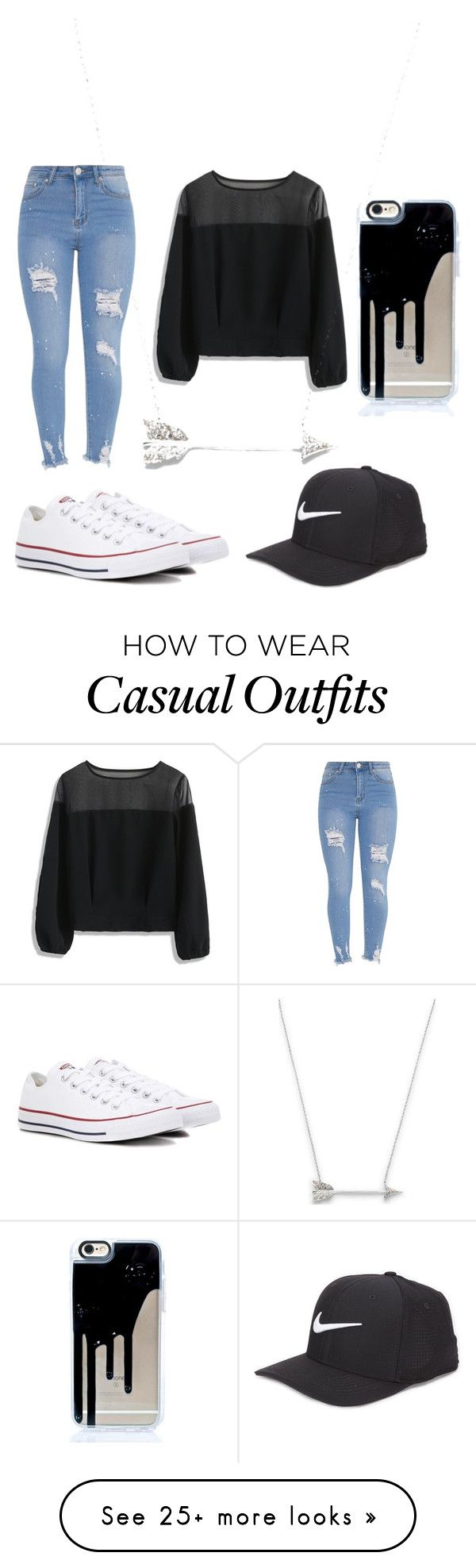 """Casual but Mordern"" by miranda-anahii on Polyvore featuring Converse, Chicwish, Estella Bartlett and NIKE"
