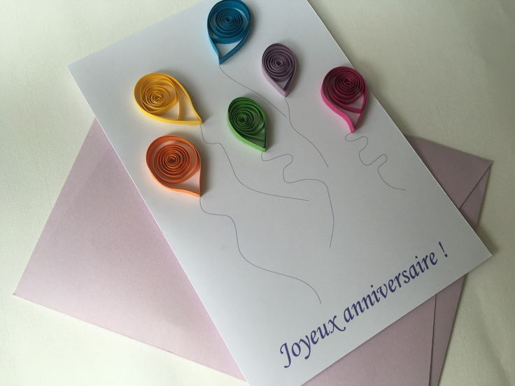 Carte Joyeux anniversaire aux ballons colorés : Cartes par les-envies-damelie