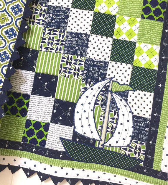 Nautical Baby Boy Quilt, Sailboat Baby Boy Quilt, Modern baby quilt, Green and Navy Baby Bedding