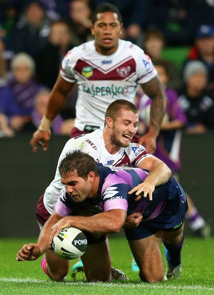 Maurice Blair of the Storm scores a try during the round 10 NRL match between the Melbourne Storm and the Manly Sea Eagles at AAMI Park on May 20, 2013 in Melbourne, Australia.