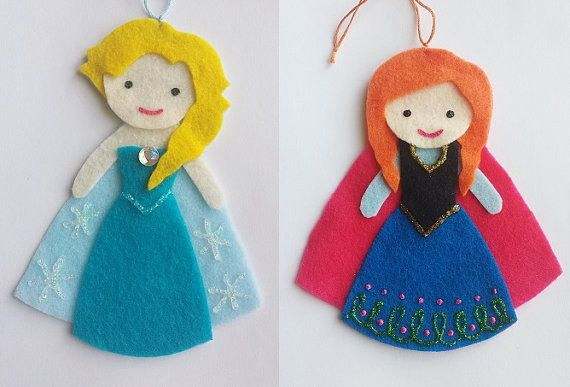 "Anna and Elsa Felt Ornaments | 21 Impossibly Cute Holiday Decorations Inspired By ""Frozen"""