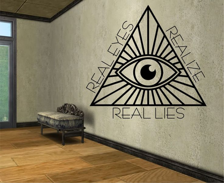 Illuminati Pyramid Eye Geometry Vinyl Wall Decal Sticker Art Decor Bedroom Design Mural interior design  geometric real eys oom decor by StateOfTheWall on Etsy https://www.etsy.com/listing/222349578/illuminati-pyramid-eye-geometry-vinyl