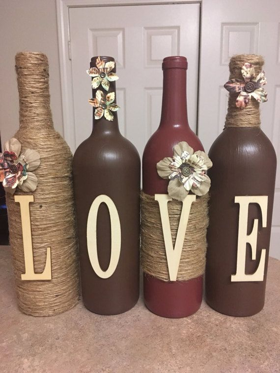 Wine bottle decor by lovetammyscrafts on Etsy