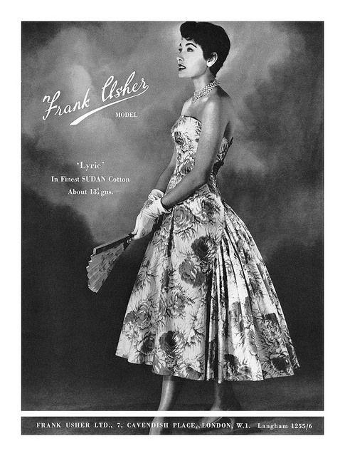 1956 Frank Usher fashion ad. #vintage #1950s #dresses