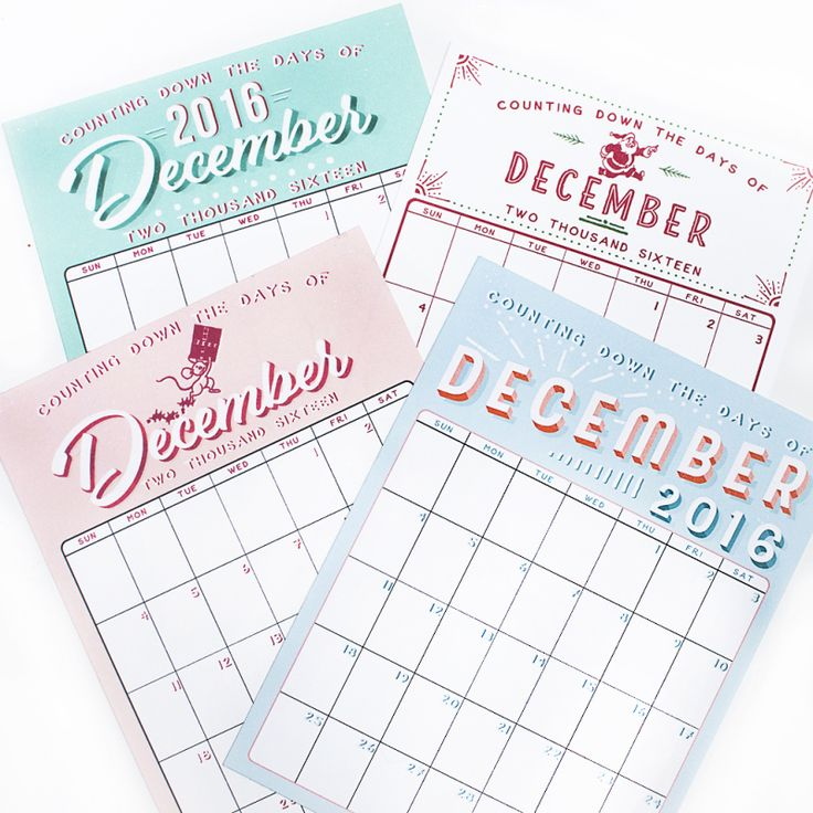 December Daily 2016 calendars