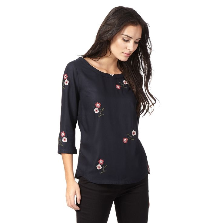 From our exclusive RJR.John Rocha range, this elegant top is perfect for creating a simple yet feminine look. Great for teaming with denim and flats, it comes in a relaxed style with a scoop neckline. With 3/4 length sleeves, it is finished with floral embroidery and beaded embellishments.