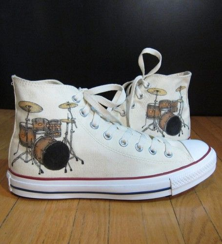 Custom Converse shoes with hand-painted drum kit