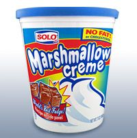 """Marshmallow Creme-- is an American confectionery. It is a very sweet, spreadable, marshmallow-like confection. One brand of marshmallow creme is Marshmallow Fluff, which is used to make the New England """"Fluffernutter"""". This is manufactured by Durkee-Mower, Inc.[1] Its ingredients include corn syrup, sugar syrup, vanilla flavor, and egg whites.[2] Ricemellow Creme, manufactured by Suzanne's Specialties, Inc., is a common vegan equivalent."""
