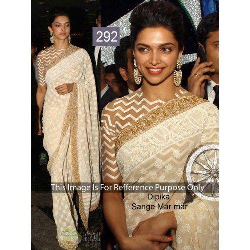 White saree Deepika trendy blouse