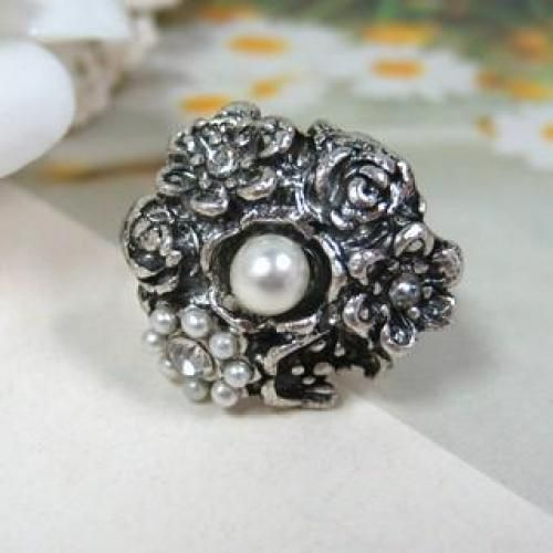 Faux Pearl Ring Silver - One Size