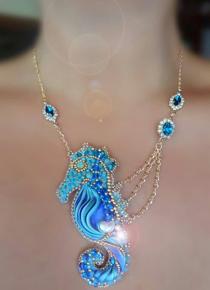 Serena Di Mercione Seahorse Shibori ribbon necklace