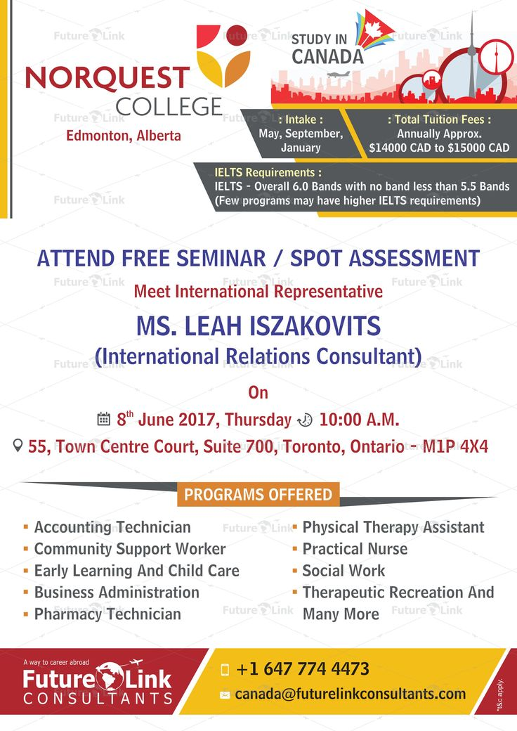 Attend Free Seminar And Spot Assessment Of NorQuest College, #Canada At  Future Link Consultants, #CanadaOffice. #Date: 8th June 2017 #Time: 10:00  A.M. ...