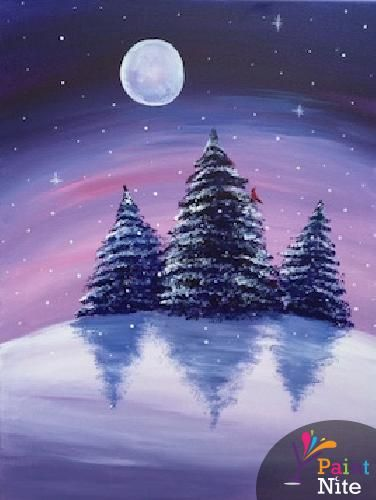 653 best paint nite images on pinterest canvases for Christmas paintings easy