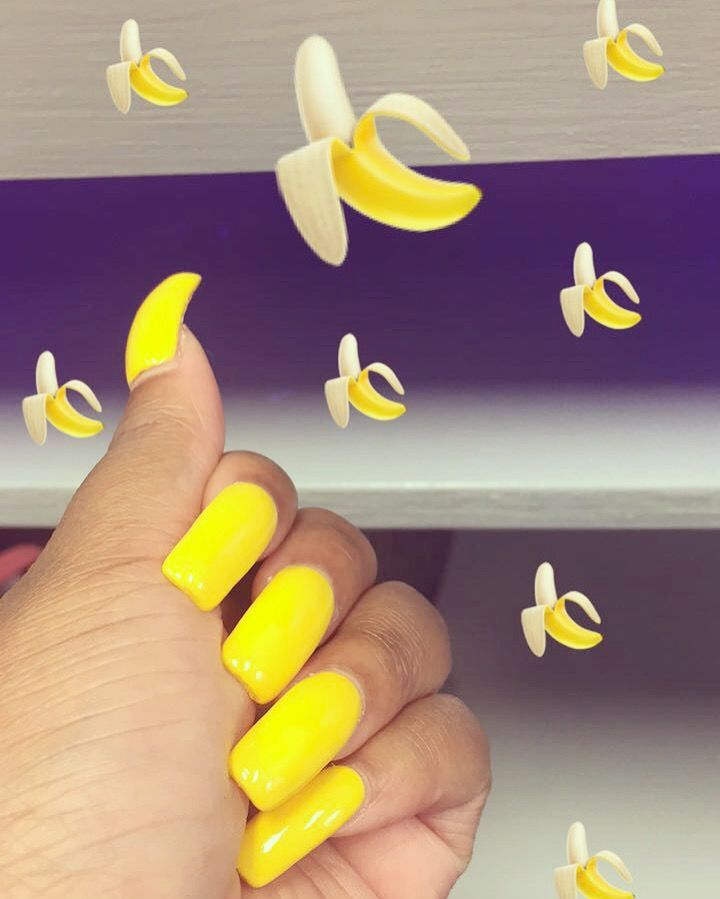 Long Yellow Squared Shape Acrylic Nails