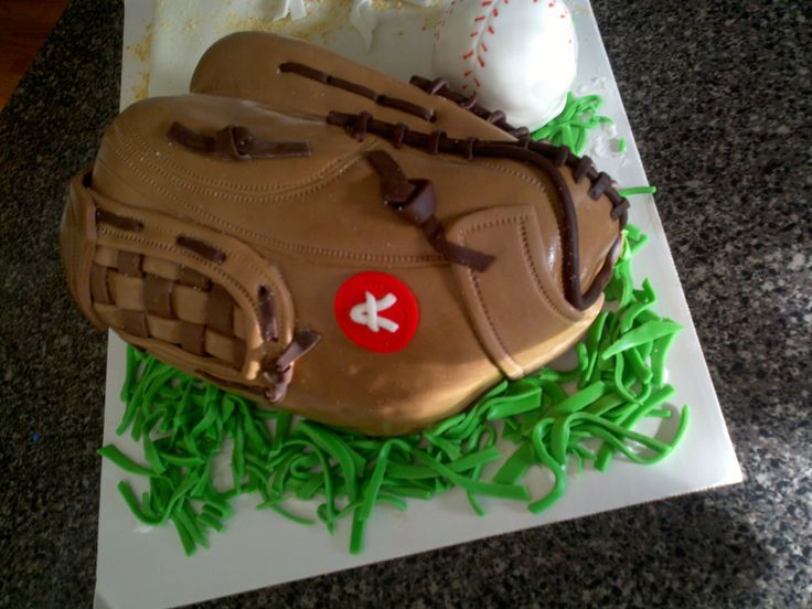 baseball glove cake - carved baseball glove cake, rice krispy treat ball