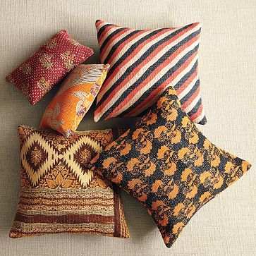 Westelm, Pillows Covers, Kantha Quilt, Boho Chic, Vintage Cotton, Living Room, Quilt Pillows, Throw Pillows, West Elm