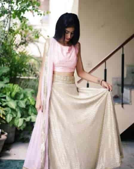 Ahista Ahista Blush Pink Butti Crop Top with Matching Lehenga ₹ 24500 by Masakali on SummerLabel. Sells Women. Fashion, Lifestyle Store. Bollywood inspired indian wear.