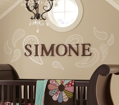 Wall decals with chocolate name lettering...