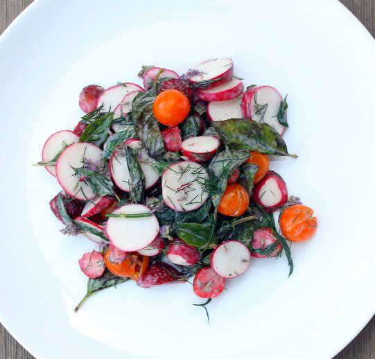 Radishes with Herbs, Sungold Tomatoes and Strawberries - Healthy Green Kitchen