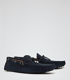 Mens Navy Suede Driving Shoes - Reiss Bradley