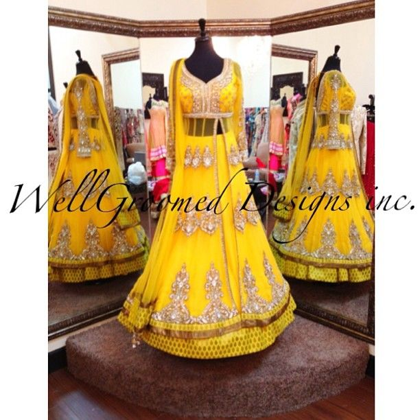 Today we feature an absolutely stunning bollywood inspired vibrant yellow lacha. This lacha contains heavy pearl and silver stonework on each and every panel. The yoke adds sex appeal but the long net covering gives this piece a touch of class! Visit us at Wellgroomed Designs Inc store or like us on Facebook and get your favorite outfit customized today!!